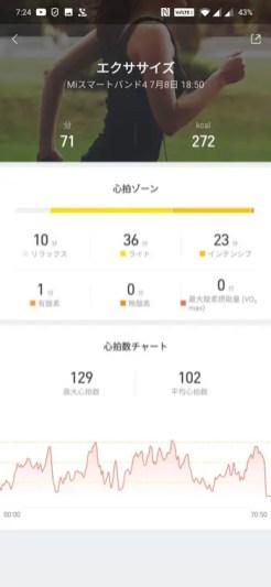 Xiaomi Mi band 4の心拍によるエクササイズ記録