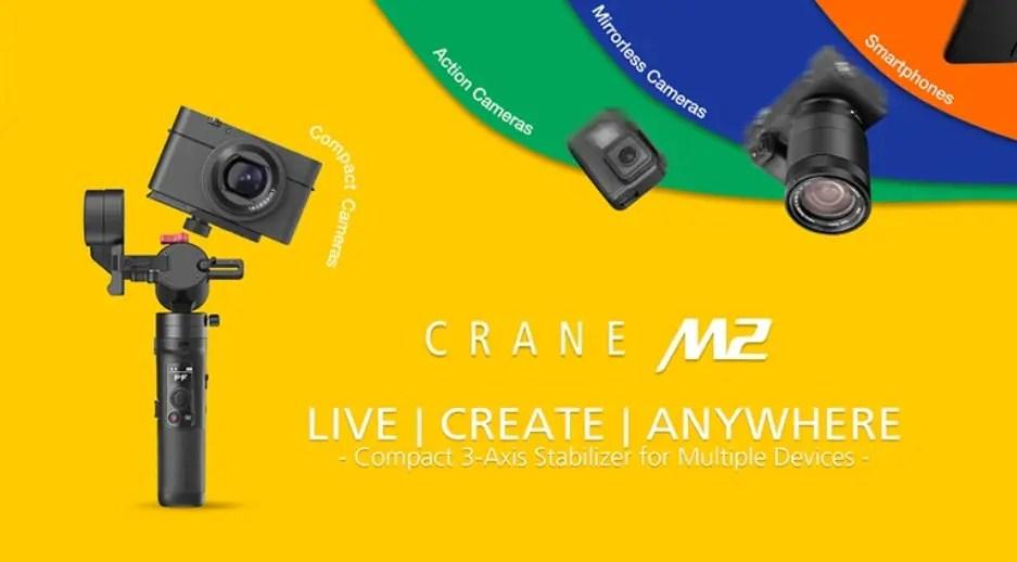 1台でカメラ・スマホが使えるジンバル『Zhiyun CRANE M2』が登場