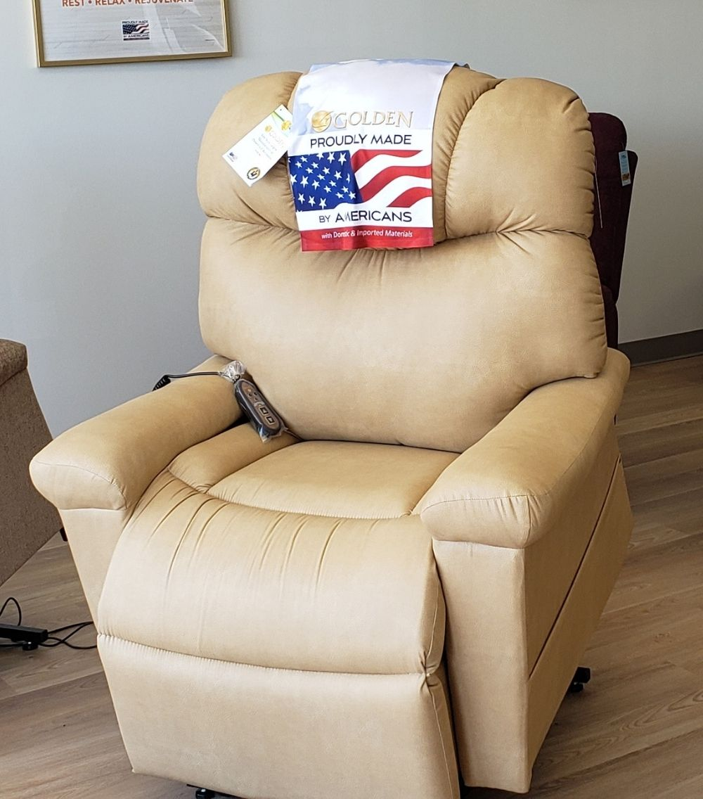 My Mobility offers Golden Technologies Signature Series Orion chair with Twilight Positioning. Available in store in Buckskin Barisa fabric.