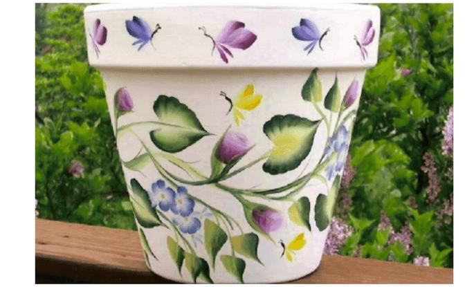 handpainted garden flower pot