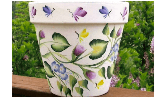 make money selling a hand painted garden flower pot