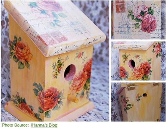 DIY Project Ideas to Make and Sell-decoupage birdhouse