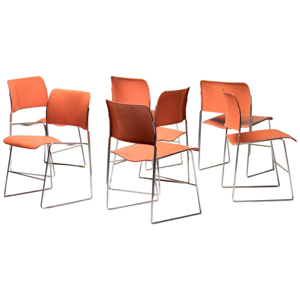 Seven Mid Century Modern Steel Stackable Dining Chairs 40 4 By David Rowland My Modern