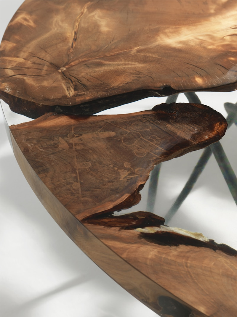Sculptural Resin Table Made From 50 000 Year Old Kauri Wood