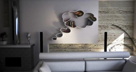 unique bookcases creative bookshelves books design graphic shape cloud thought bubble