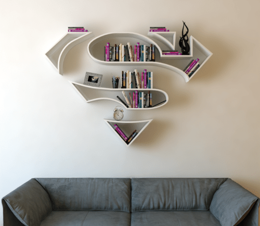 unique bookcases creative bookshelves books design graphic shape superman superheroes