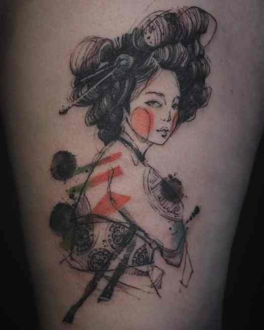 traditional Korean woman watercolor tattoos by NADi
