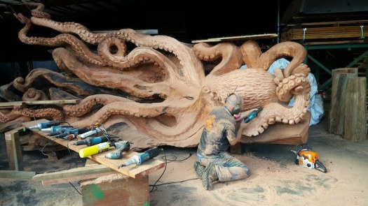 chainsaw sculpture octopus sculpture from redwood tree