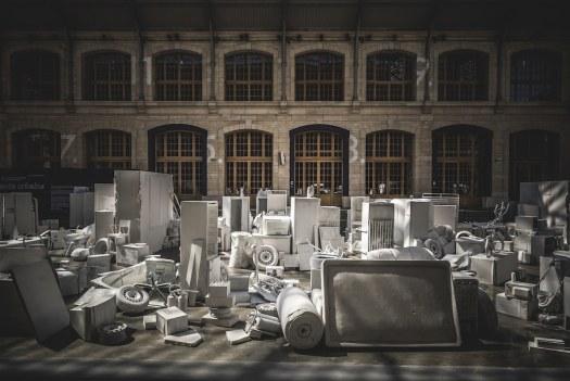 Vhils Installation at the Centquatre in Paris