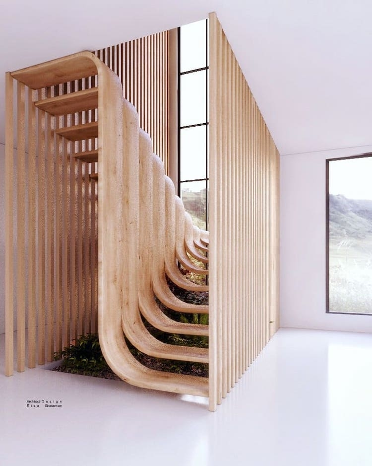 Modern Stair Design Resembles A Strand Of Dna Inside A Home | Two Story Staircase Designs | Entryway | Stunning | Glass | Two Storey House | 2 Story