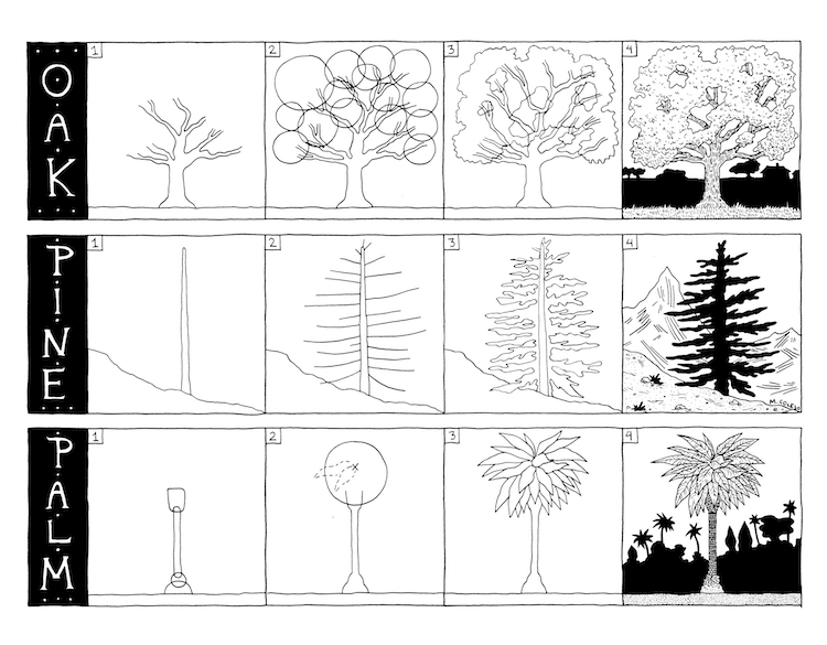 Learn How To Draw Three Types Of Trees Oak Pine And Palm