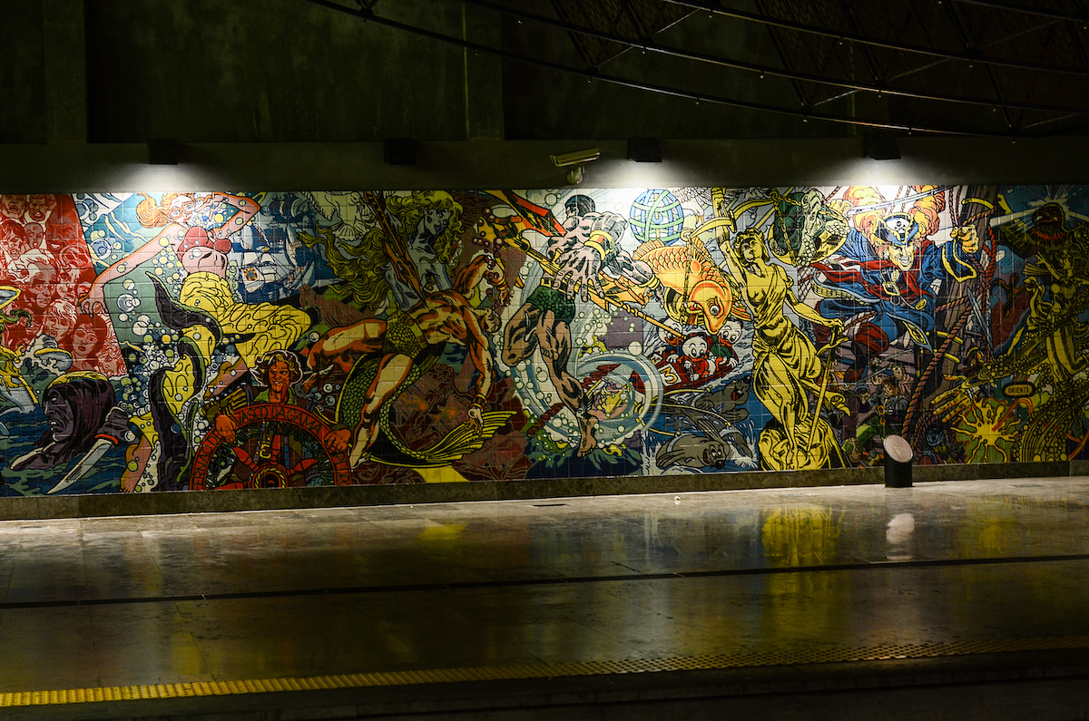 Azulejo Mural in the Lisbon Underground Portugal