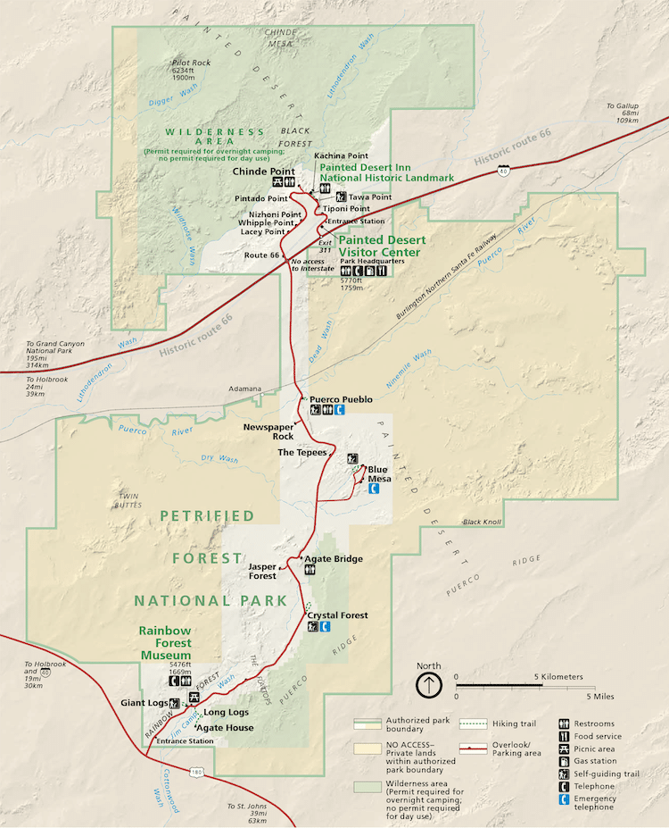 Map of the Petrified Forest National Park