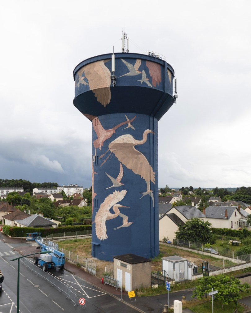 Birds Painted on Water Tower in Gien