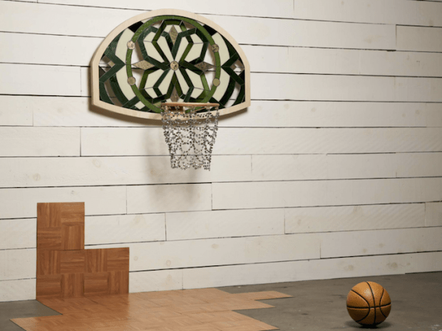 Backboard Art Literally Balling Victor Solomon Basketball Goal Stained Glass Sports Beads Basketball Court Outside Sky Hoop Green Basketball