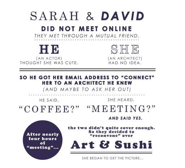 David Magidoff Sarah Funny Wedding Invitation Typography Graphic Design Sweet Love Story
