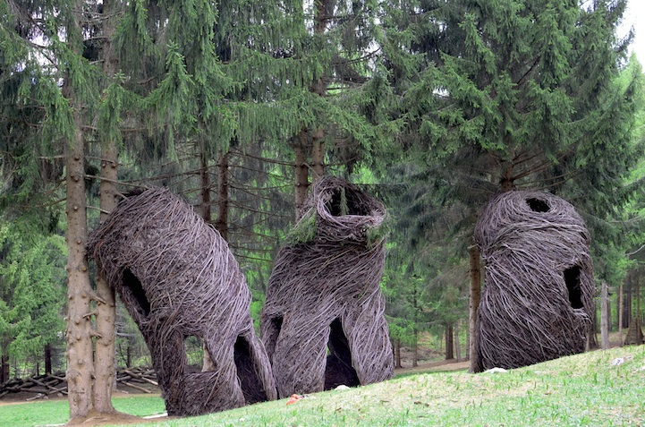 Storybook Style Land Art Scattered Across A Forest In Italy