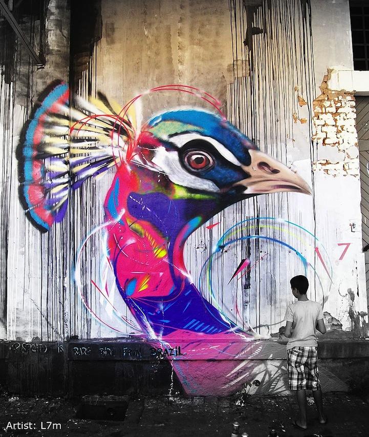Graffiti Birds Emerge In Brazil Through Fragmented Lines