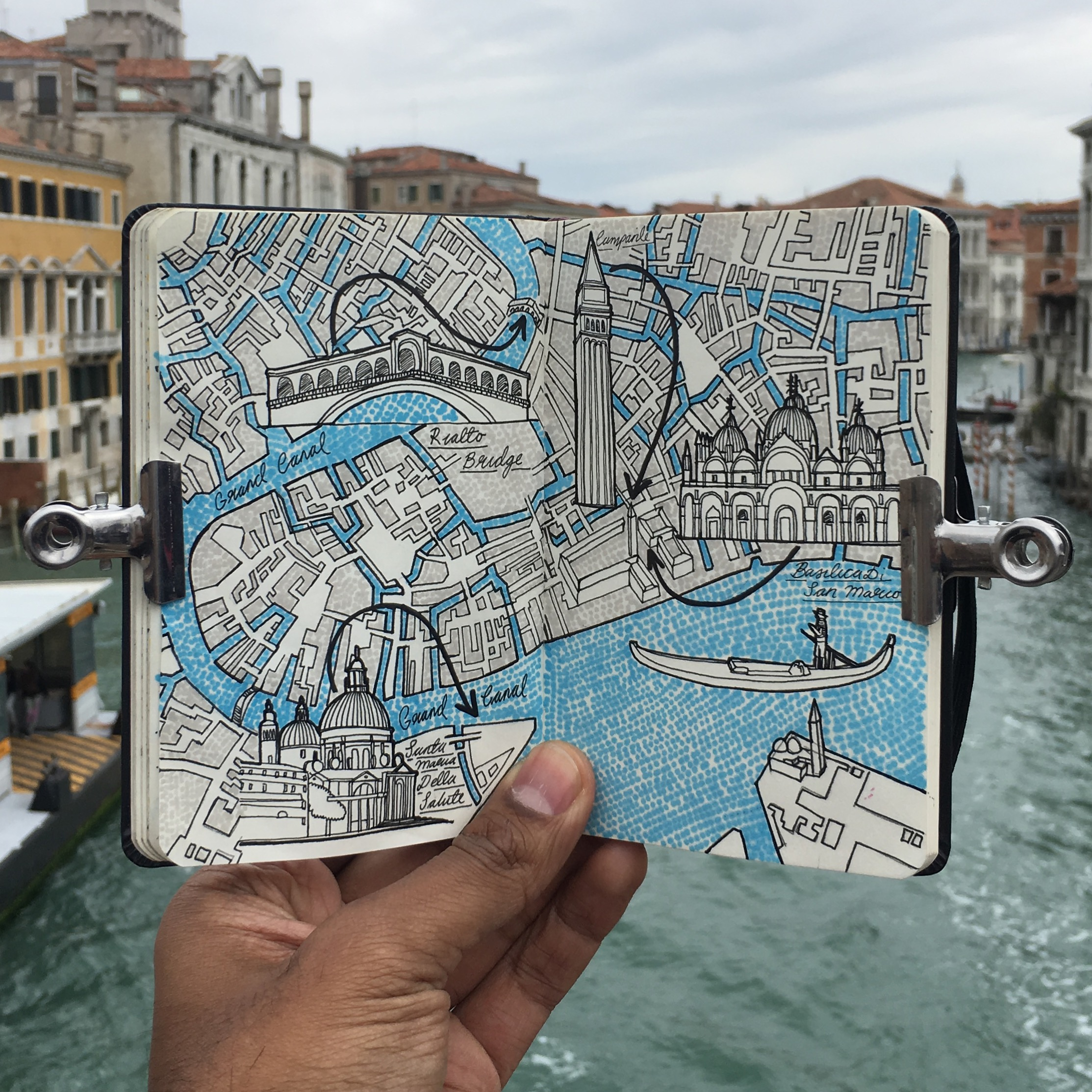 City Day Trip Map Drawing Of Venice Italy