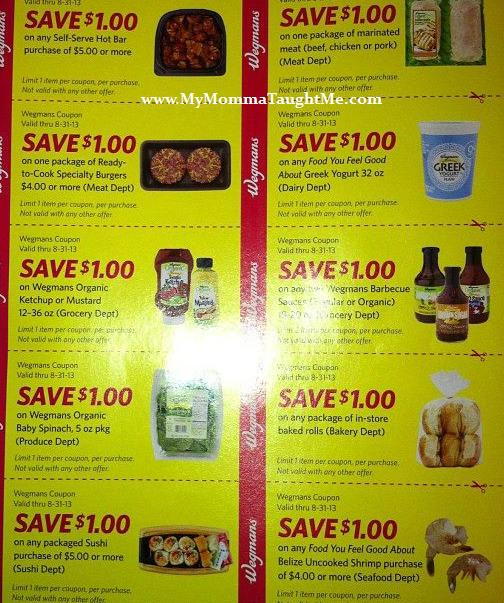 wegmans menu coupons