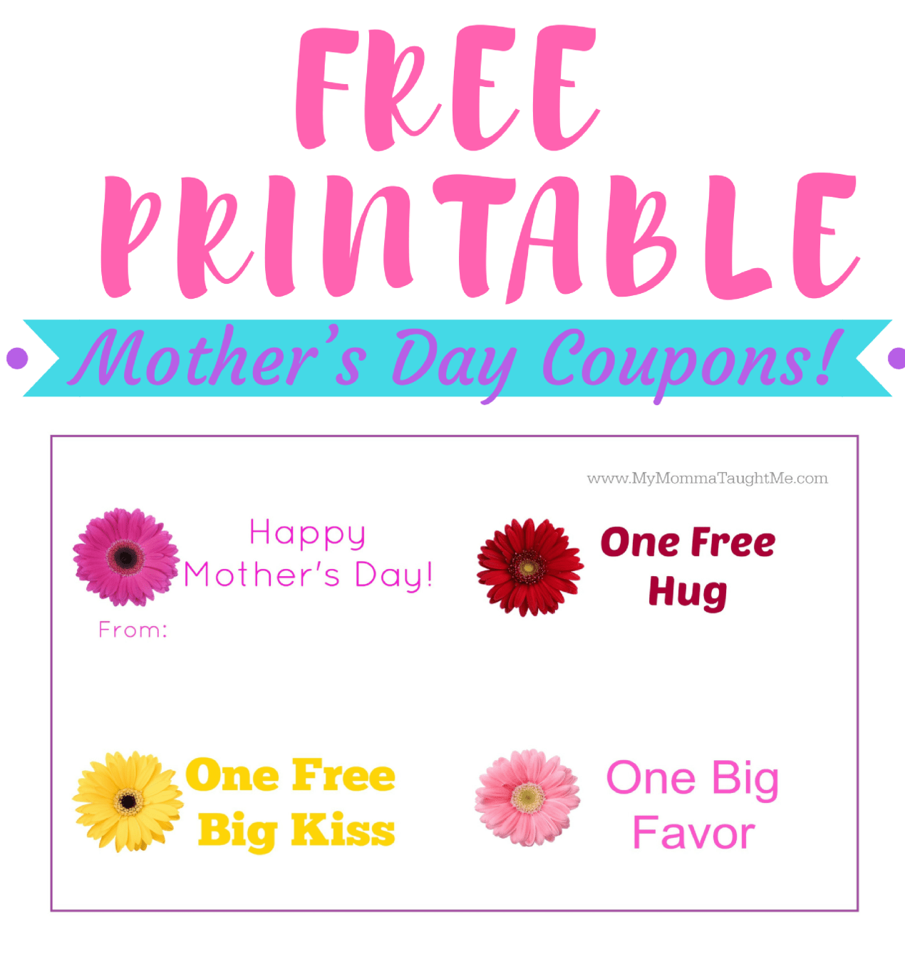 FREE PRINTABLE Mothers Day Coupons