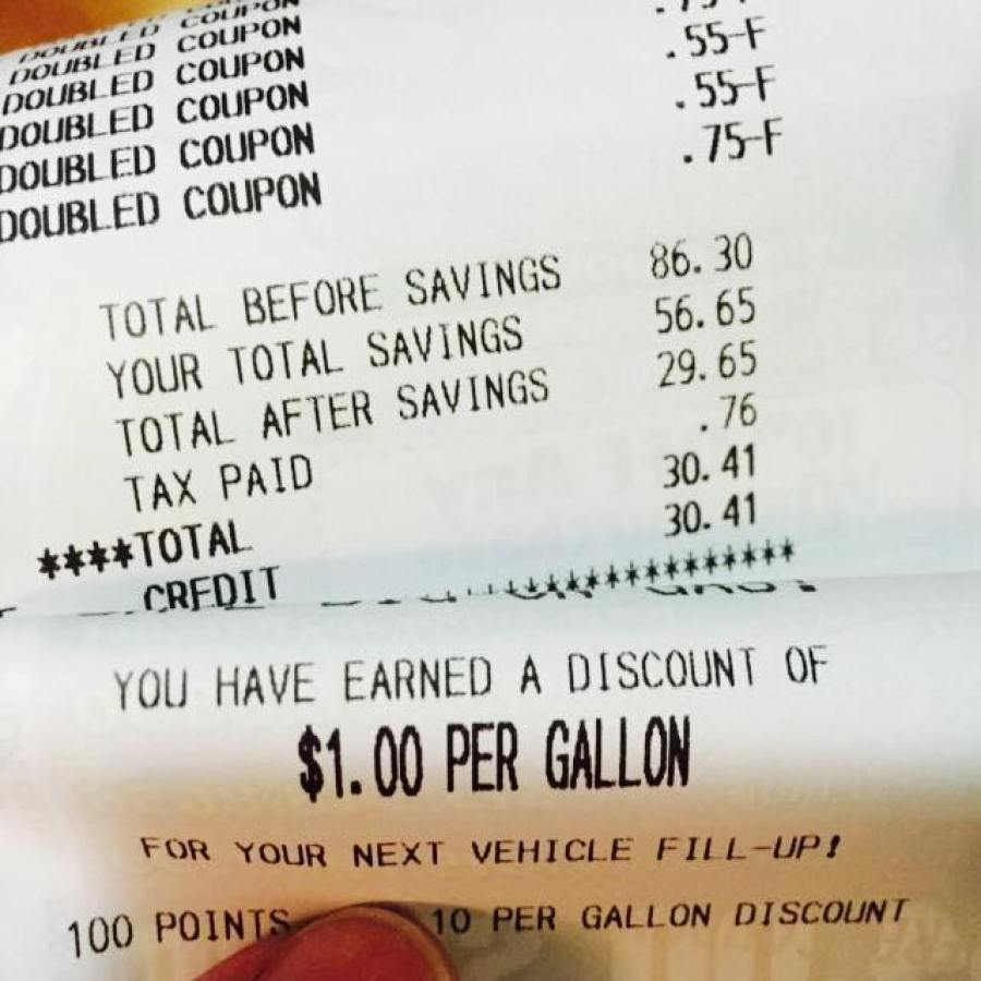 Tops Markets Gas Points receipts