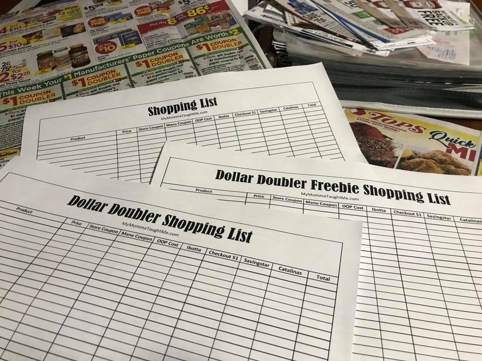 Free Printable Grocery Shopping List Dollar Doublers
