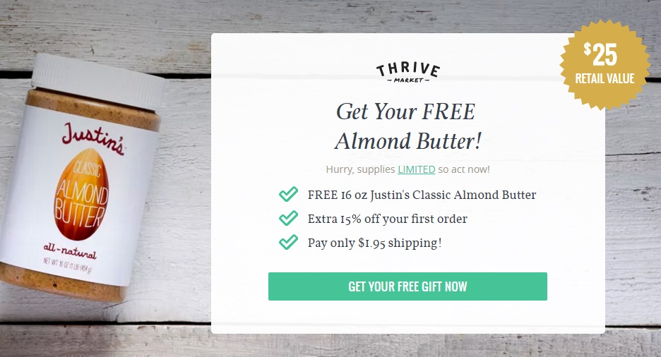 Score a FREE Jar of Almond Butter from Thrive Market (Pay Only ...