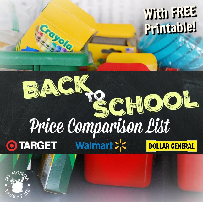 Back to School Price Comparison List for 2016