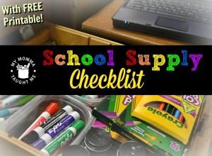 School Supply Check list