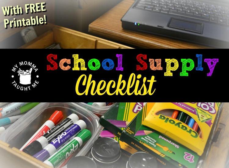 School Supply Check list