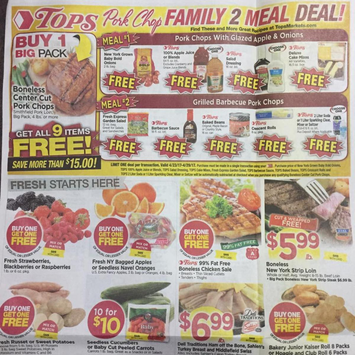 Tops Markets Ad Scan Week Of 4 23 17 To 4 29 17 Page 1a