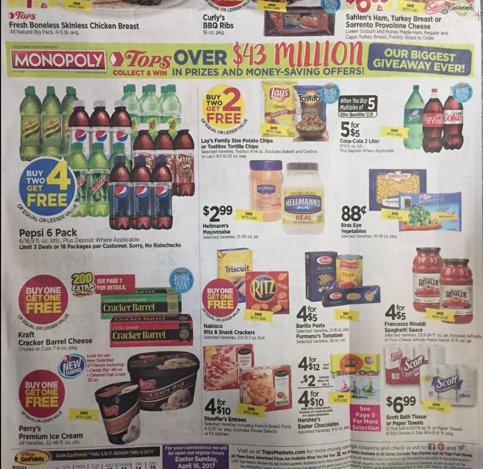Tops Markets Ad Scan Week Of 4 9 17 To 4 15 17 Page 1b