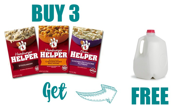 FREE Milk Wyb 3 Boxes Of Hamburger Helper