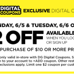 Dollar General Digital Coupon Offer