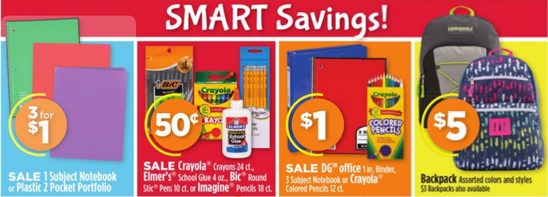 Dollar General Back To School Savings