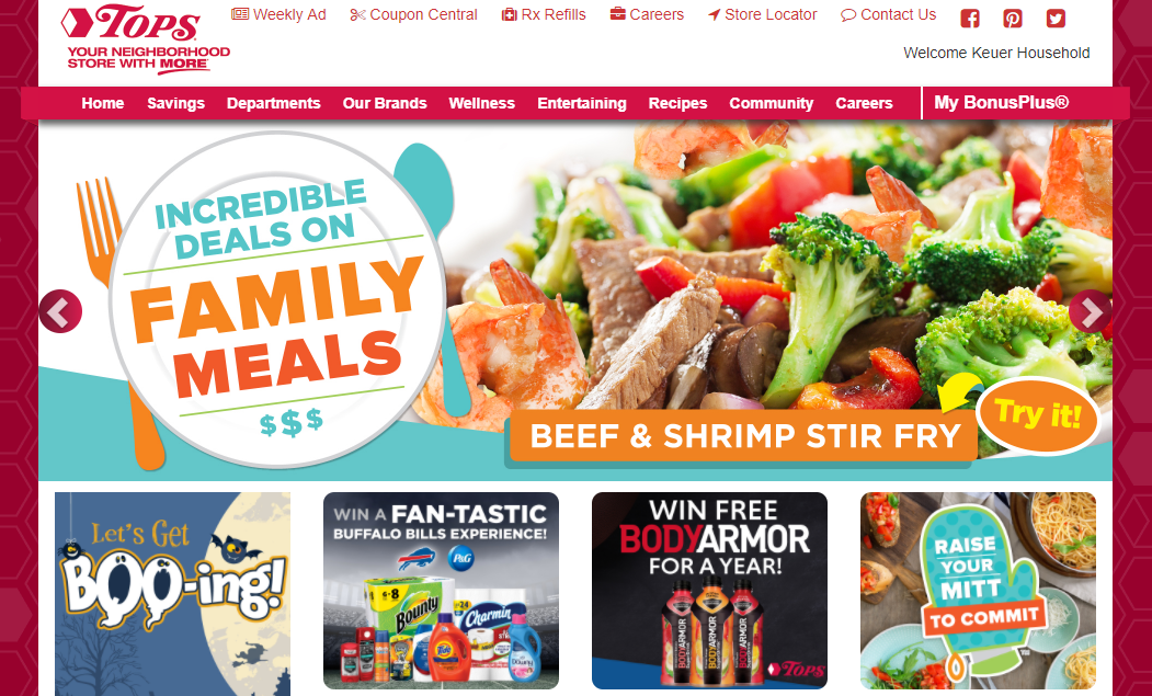 Tops Markets Website Screen Shot