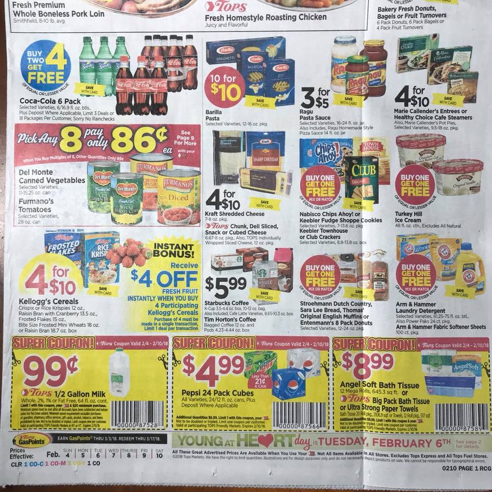 Tops Markets Ad Scan Week 2 4 18 Page 1b