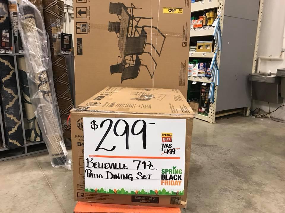 Belleville 7 Piece Padded Outdoor Dining Setfor ONLY $299 (reg $499)