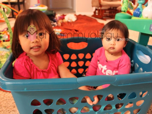 Two Tots in a Laundry Basket