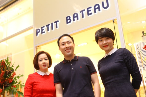 Hans Yao, President of Adrenaline Group of Companies, and his wife Mellie (left) and Jing Jin, Petit Bateau's Asia Pacific Manager.