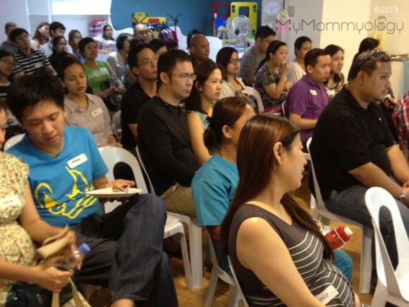 Our attentive audience of Moms and Dads-to-be.