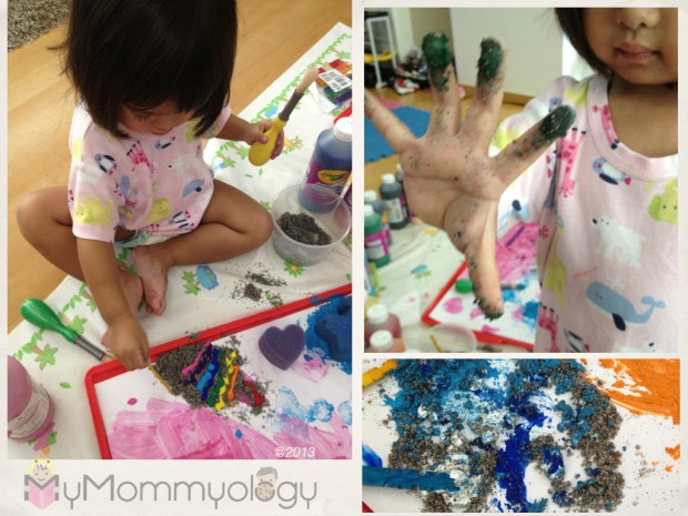 "Jamie making rainbow sand, and then getting her hands messy in them.  Bottom pic:  Sam's ""sea"""
