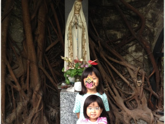 My girls outside with Mama Mary.  They behaved really well that Ash Wednesday when we went.
