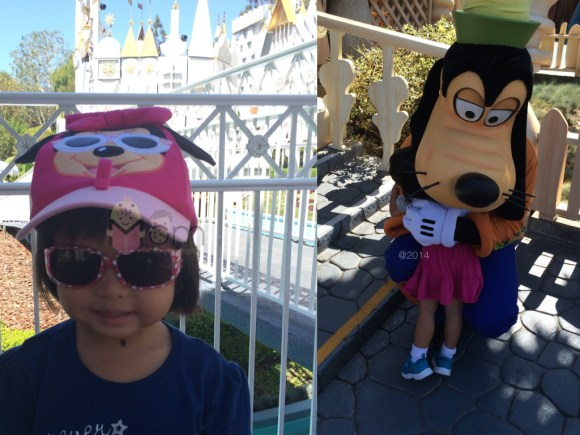 Left: Millionth Small World Ride.  Right:  Happily engulfed by Goofy.