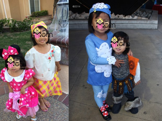 "Sam's ""costumes"" were outfits she needed in school.  Jamie's Minnie was a gift and her viking was from last year."
