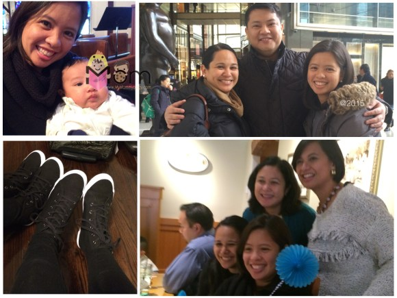 Clockwise: 1) With the cutie little Seba! ; 2 & 3) Catching up with friends; and 4) Shoe-shopping!