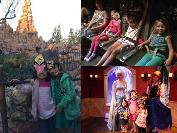 Clockwise from Top: Sam with friends on Soarin' over California; Sam, Jamie and friends meet Anna and Elsa; Sam's first time on Big Thunder Railroad was with her friend. :)