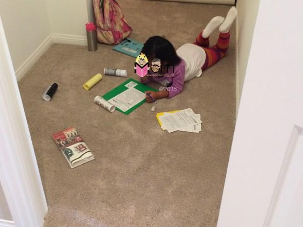 Homework before Harry Potter decals.
