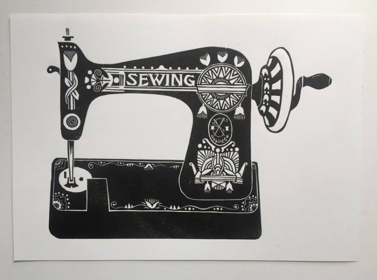 Linocut sewing machine print